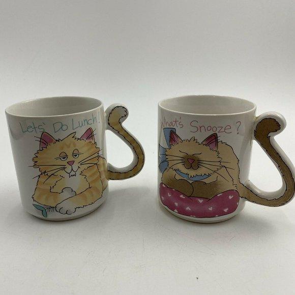 Vintage Cat Novelty Mug Tail Unique Handles